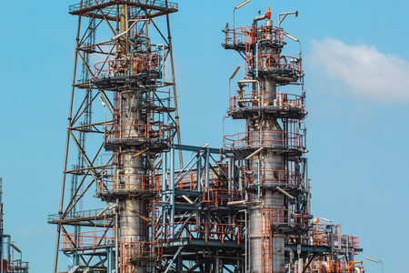 Refinery plant Thailand oil and gas - July 1st, 2016 : Industry oil and gas production petroleum pipeline  against the blue sky