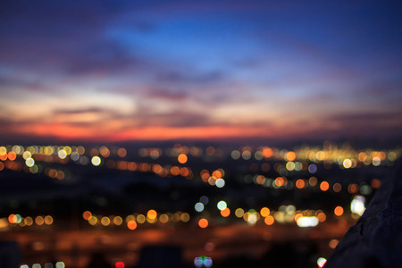City at night pattaya chonburi,Thailand. Blurred photo bokeh.