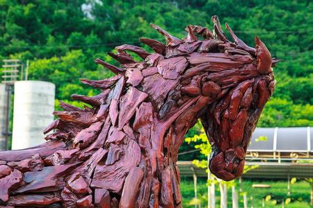 Bangkok Thailand - September 11th, 2016: Horse made of scrap wood Editorial