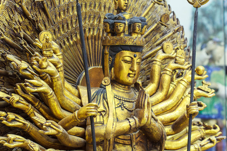 Guan Yin with ten thousand hands in thailand temple