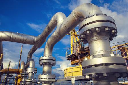 Industria offshore producción de petróleo y gas oleoducto.