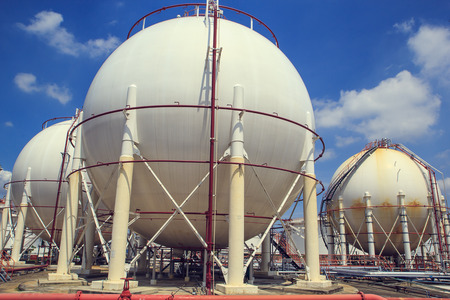 Spherical tanks containing fuel gas oil refineries.