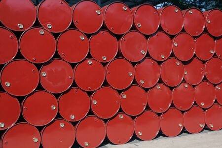 oil barrels red or chemical drums stacked up