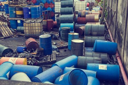 Samutprakan Bang Pu Industrial Estate Thailand - March17 th, 2017: Oil barrels blue  chemical horizontal of scattered to recycle.