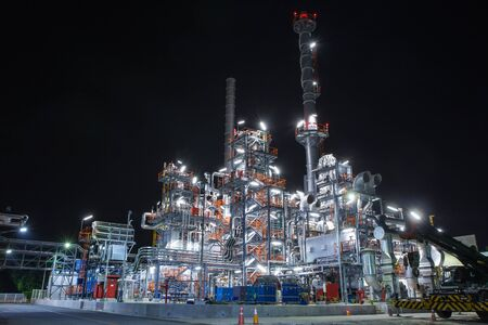 Night scene of oil refinery plant and power plant of Petrochemistry industry