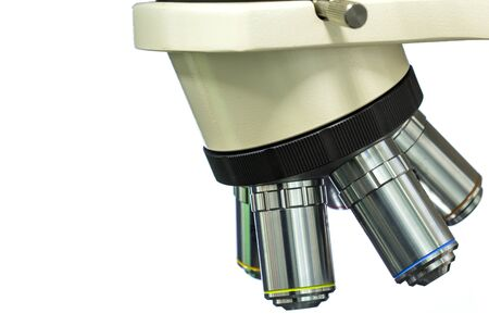 Focus objective Lens of Microscope on the isolate white background
