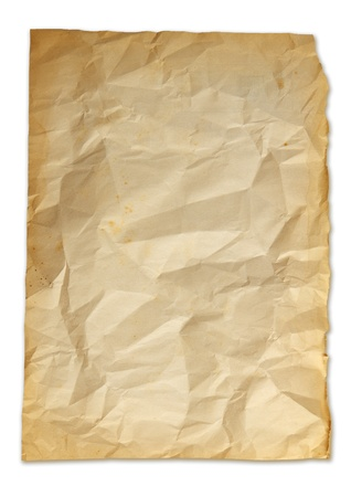 Old torn crumpled paper bag texture isolated on white. photo