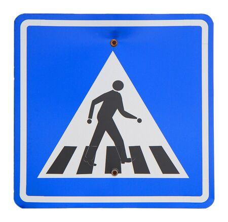 pedestrian sign: Due segno pedonale su uno sfondo di wite