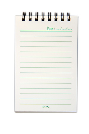 Blank one face white paper notebook vertical Stock Photo - 10860288