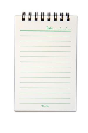 Lege een gezicht wit papier notebook verticale Stockfoto