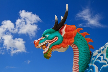 Dragon statue on white blackground photo