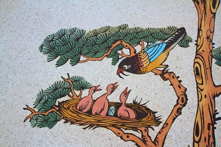 This bird feeding  painting on a wall in Chinese temple