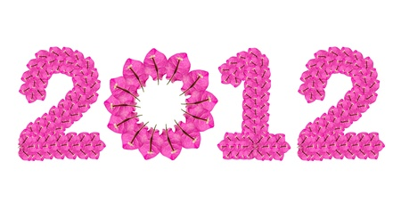 happy new year 2012 abstract background from flowers photo
