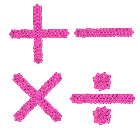 math operations signs from flowers on white blackground Stock Photo - 11282531