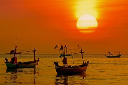 Fishing boat sunrise, huahin thailand Stock Photo - 11282560