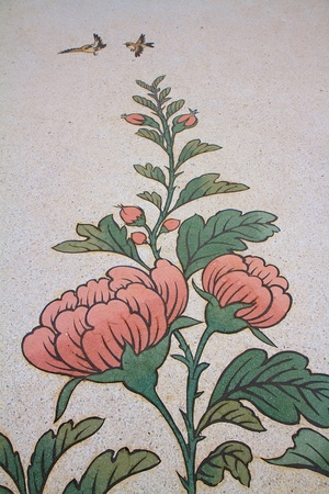 Paintings of flowers on a wall in Chinese temple photo