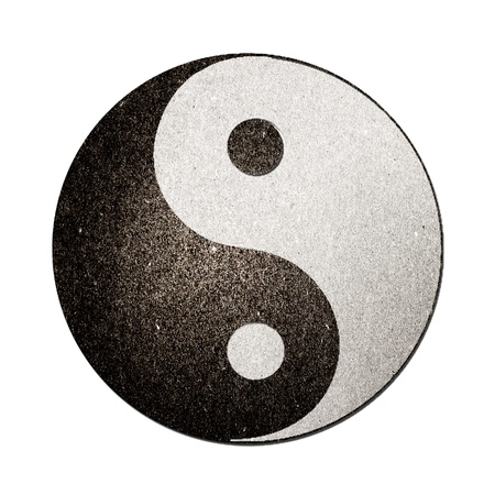 ying yan: Ying yang symbol of harmony and balance cut and from recycle paper