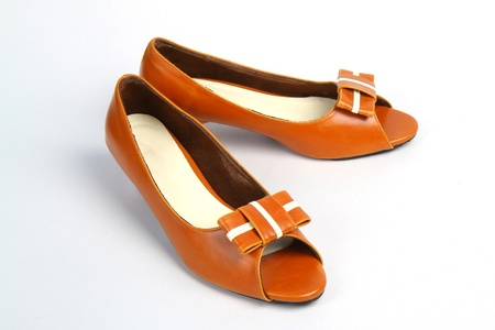 jane: Casual Brown Leather Womens Shoe Stock Photo