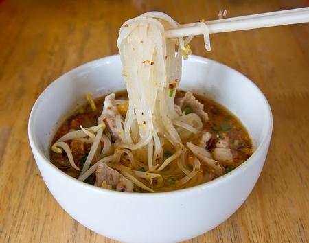 chicken noodle: thai noodle soup  Stock Photo