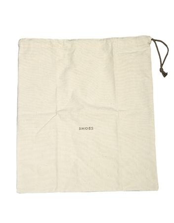 Sac en coton blanc sur fond blanc isolé. Banque d'images