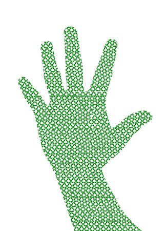 environmentalist tag:  Recycling symbol  hand cut from recycle paper Stock Photo