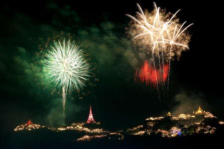 fireworks display at Phra Nakorn Kiri festival Phetchaburi province Thailand photo