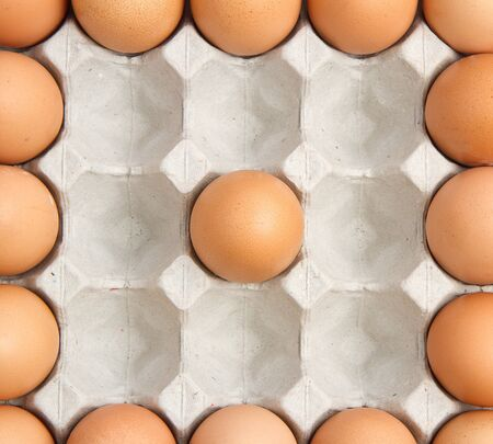 Brown eggs in the box photo
