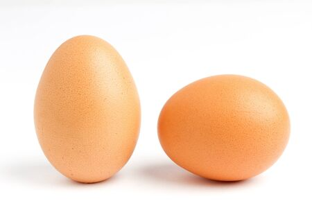 close up of two egg on white background  photo