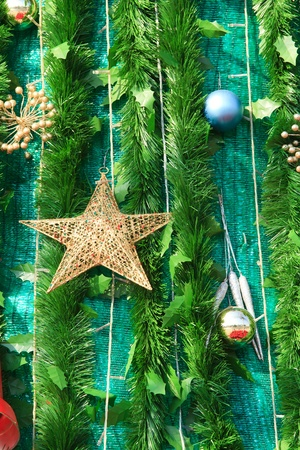 branch of fir-tree and ball and star photo