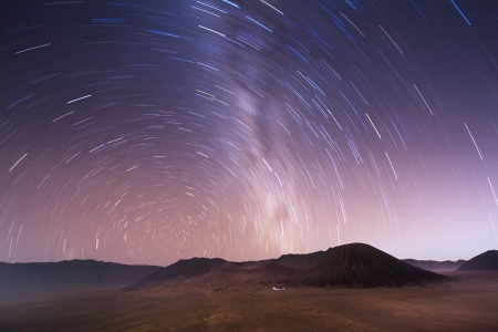 Shot with a long exposure of a rotating stellar sky over Bromo volcano, Indonesia photo