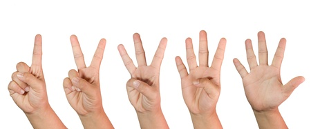 Counting woman hands (1 to 5) isolated on white background Stock Photo - 11718727