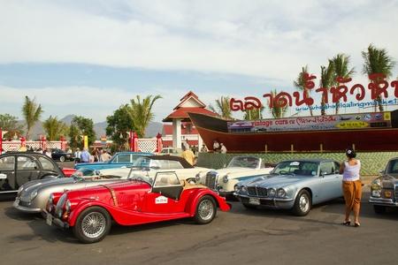 HUA HIN, THAILAND - DEC 16: Morgan Plus 4,1958 Vintage cars display in Hua Hin Vintage Cars Parade Festival 2011 at Hua Hin floating market on December 16, 2011 in Hua Hin, Thailand. Stock Photo - 11719488