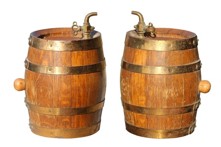 Old barrel for wine on a white background photo