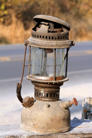 dusty: Old dusty oil lamp