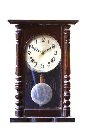 isolated old-fashion wooden clock with pendulum photo
