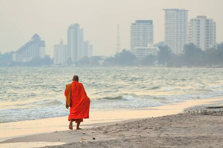 hua hin: monks on the beach,Hua Hin Thailand