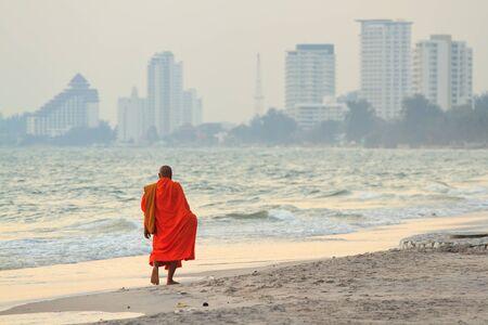 hin: monks on the beach,Hua Hin Thailand