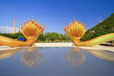 naga china: Thai dragon or king of Naga statue  Editorial