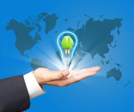 ecologically: Green  lamp on hand