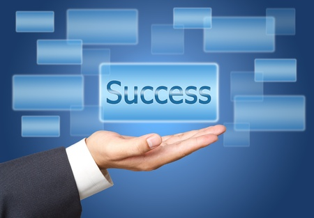 success screen Button Interface on Business hand Stock Photo - 12660411