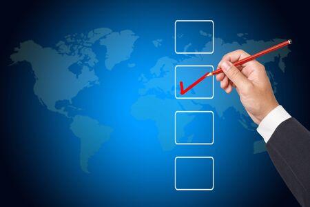 Hand choosing one  options Stock Photo - 12661793