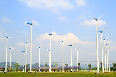 Wind turbines farm photo