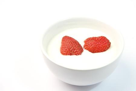 strawberry and yogurt photo