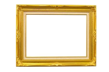 gold frame over white background Stock Photo