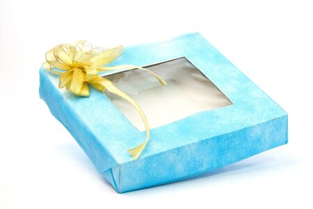 blue gift box with Gold ribbon photo