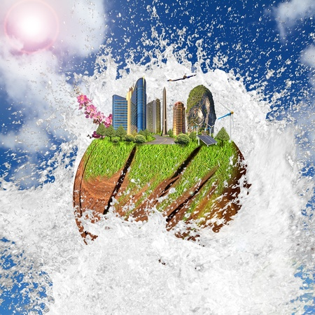earth on the water wave Stock Photo - 12668827