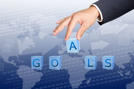 hand of business man Hold  goals word buttons  Stock Photo - 12916595
