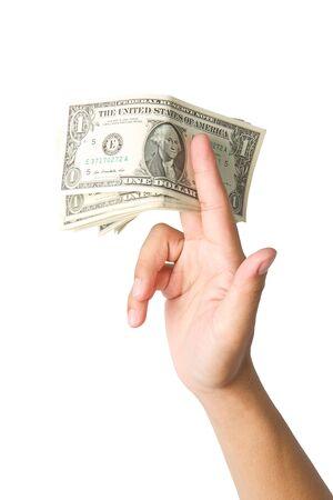 cpa: Handling us money, one  dollar bills on a white background
