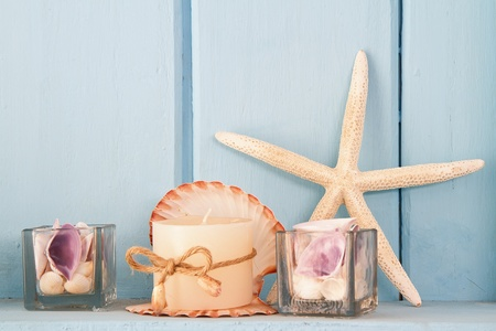 wall decor: decoration with shellfish, beach style decoration Stock Photo