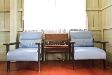 Old vintage living room with sofa  photo